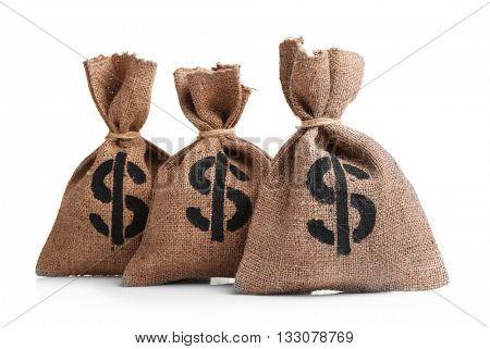 Sacks with money isolated on white
