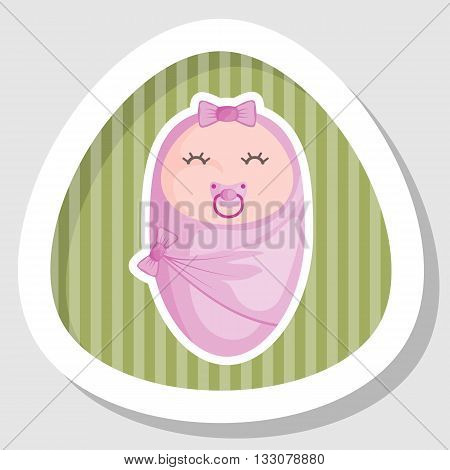 Baby girl colorful icon. Vector illustration in cartoon style