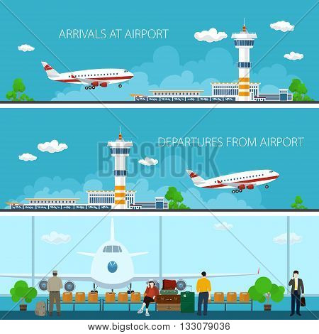 Airport Horizontal Banners, Arrivals at Airport, Departures from Airport, a Waiting Room with People, Travel Concept, Flat Design, Vector Illustration