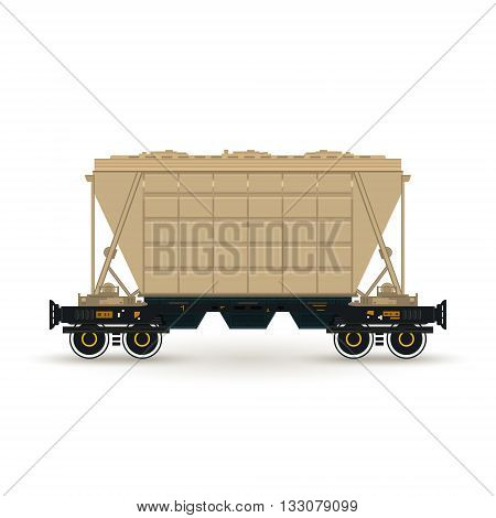Hopper , Hopper  on Railway Platform Isolated on White, Railway  Transport, Hopper Car  for Transportation  Freights , Vector Illustration