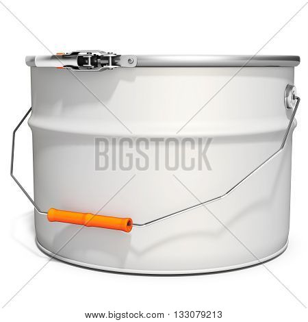 3D White Tub Paint, Bucket, Container With Metal Handle And Lid