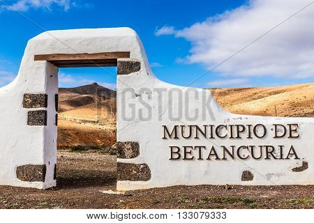 Typical Sign of New Municipality - Betancuria Fuerteventura Canary Islands Spain