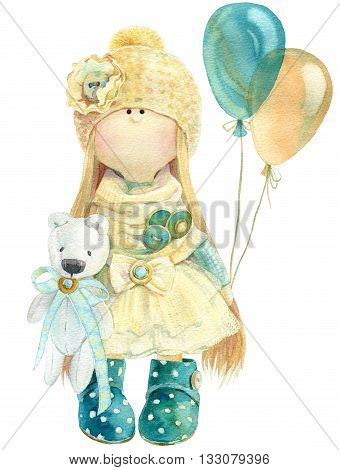 Waterolor illustration of cute handmade stuffed doll toy with small bunny in her hand. Nice illustration for bithday or any other card design.