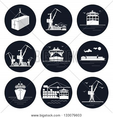 Set of Round Cargo Icons, Dry Cargo Ship and Container Ship, Unloading Containers from a Cargo Ship in a Docks with Cargo Crane, Container , International Freight Transportation, Vector Illustration
