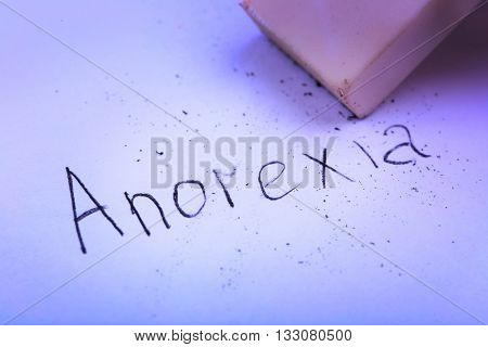 Eraser deleting the word Anorexia
