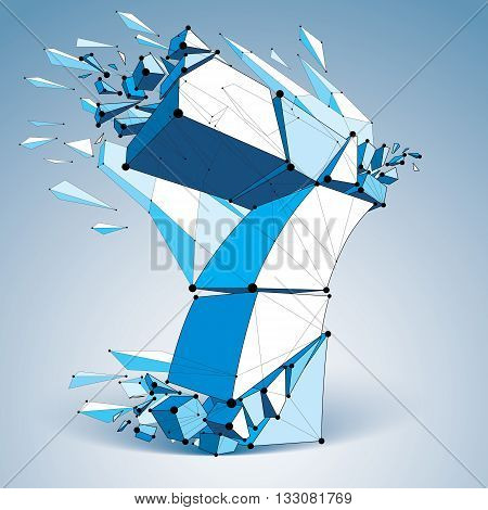 Abstract 3d faceted blue number 7 with connected black lines and dots. Vector low poly shattered design element with fragments and particles. Explosion effect thread.