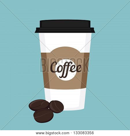 Vector illustration disposable coffee cup icon with coffee beans on blue background. Coffee cup logo