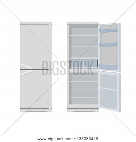Vector illustration grey opened and closed empty refrigerator. Refrigerator or fridge icon