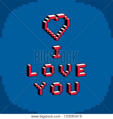 I love you phrase created in digital technology style vector 8 bit heart shape. Romance theme pixel art inscription contemporary Valentine Day card.