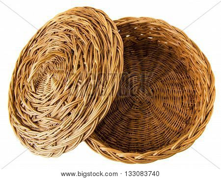 Vintage empty weave wicker basket isolated on white background