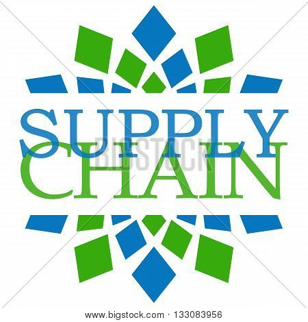 Supply chain text written over abstract green blue background.