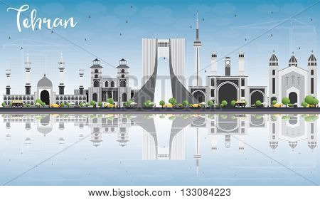 Tehran Skyline with Gray Landmarks, Blue Sky and Reflections. Vector Illustration. Business Travel and Tourism Concept with Historic Buildings. Image for Presentation Banner Placard and Web Site.