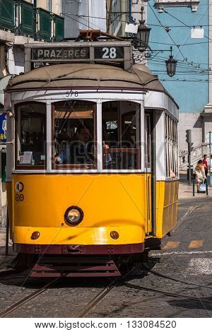 Lisbon Portugal-April 12 2015:Vintage tram in the city center of Lisbon Lisbon Portugal in a summer day