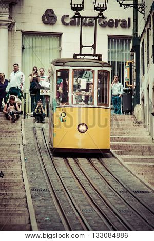 Lisbon Portugal-April 122015:The Bica Funicular (Elevador da Bica or Ascensor da Bica) is a funicular in Lisbon Portugal