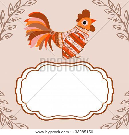Cock bird ethnic pattern. Symbol 2017. New year. Fair and celebration. Fabulous animal.text box.