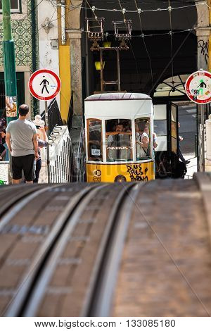 LisbonPortugal-April 122015:The Bica Funicular (Elevador da Bica or Ascensor da Bica) is a funicular in Lisbon Portugal