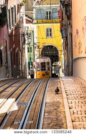 LisbonPortugal-April 122015:Ascensor da Bica bairro alto lisboa portugal