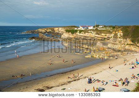 Ribadeo Spain-23 August 2014: Rocky coast of Spain. Galicia