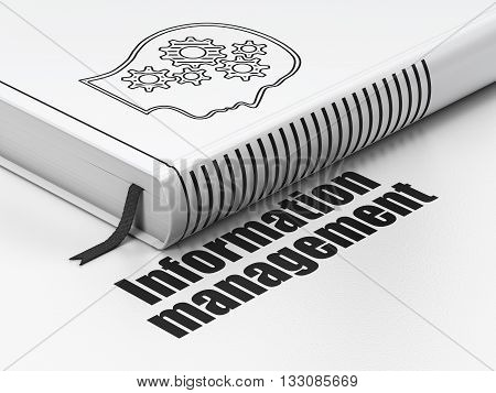 Information concept: closed book with Black Head With Gears icon and text Information Management on floor, white background, 3D rendering