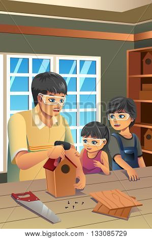 A vector illustration of father making birdhouse with his kids