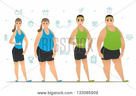Set of cartoon characters with slim physique and with thick body. Weight loss before and after workouts. Vector illustration. Collection of sport icons.