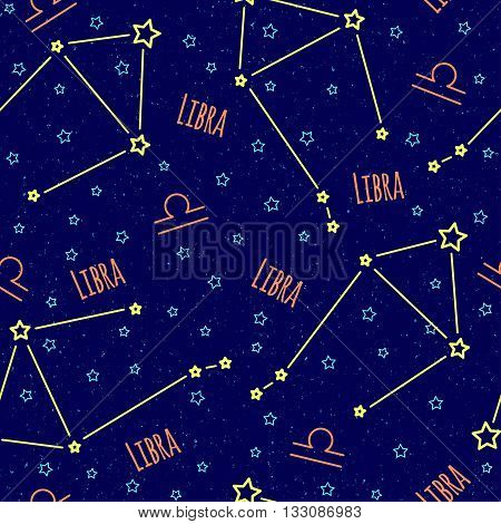Seamless vector pattern. Background with the image of constellation libra zodiac sign on a dark blue background with blue stars. Pattern for design packaging, design brochures, printing on textiles