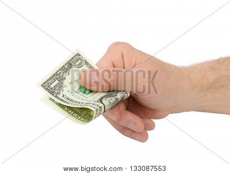 hand holding one dollar bill isolated on white background