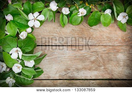 White flowers and leaves arrangement on a rustic wooden table
