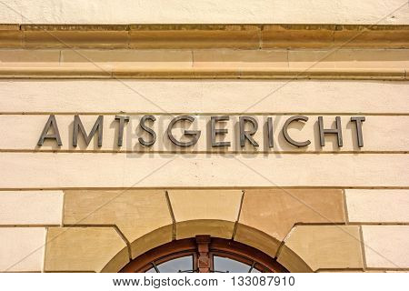 District court (Amtsgericht) - lettering on building facade