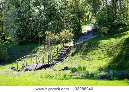 Wooden bridge in botanical garden