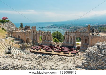 View of the fragments of the remains of an ancient Greek theater on the Italian island of Sicily, Italy, in town Taormina