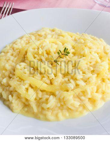 Tasty lemon rice typical food of Positano.