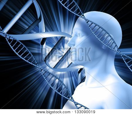3D male figure with DNA strands on abstract background