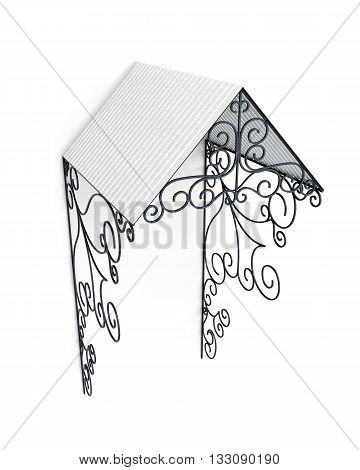 Metal canopy with ornament isolated on white background. 3d rendering.