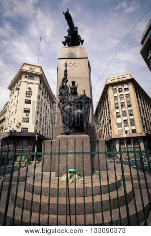 Horse and warrior statue in Buenos Aires