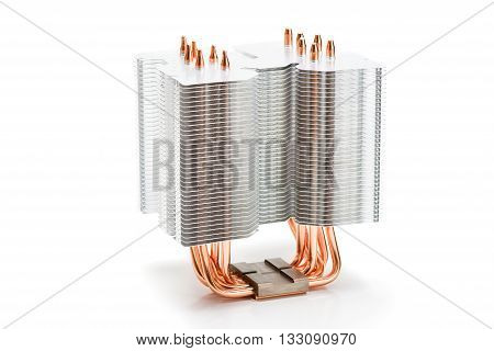 Processor cooler tower type with heat pipe on white background