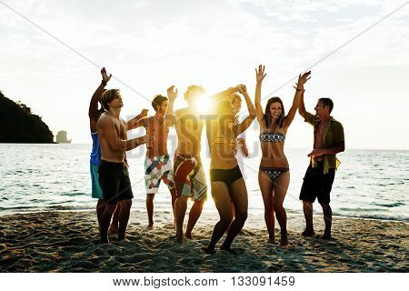 People Celebration Beach Party Holiday Concept