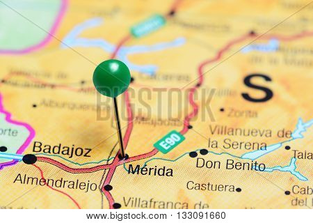 Merida pinned on a map of Spain