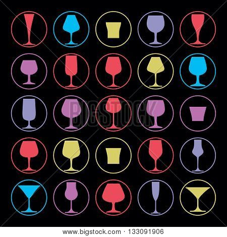 Set of alcohol vector goblets and drinking glasses collection.