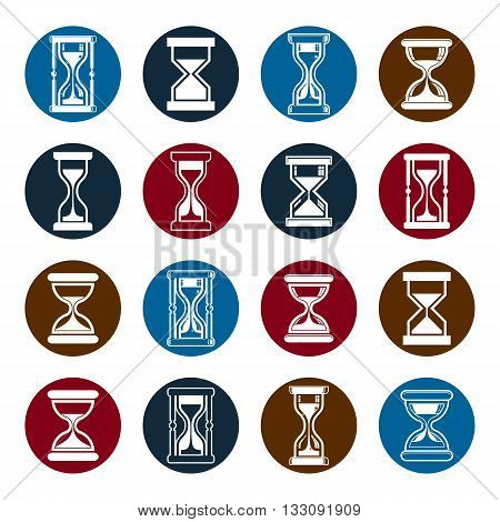 Set of vector antique classic hourglasses clocks collection.