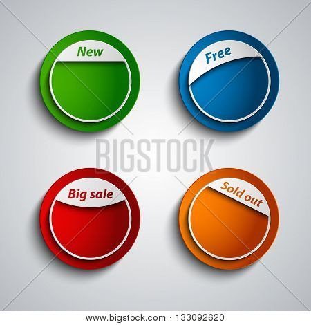 Colored design label sticker for shopping template vector eps 10