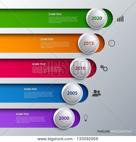 Time line info graphic with design stripes and bubbles vector eps 10