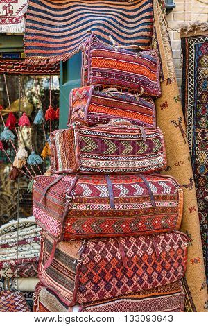 Traditional persian bags on the market in Esfahan, Iran