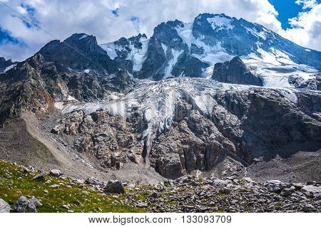 View of the Ullu-Tau glacier. Caucasus mountains Kabardino-Balkaria Russia