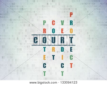Law concept: Painted blue word Court in solving Crossword Puzzle on Digital Data Paper background
