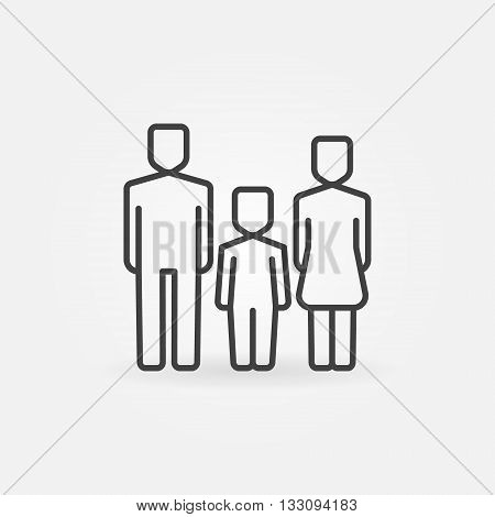 Family line icon - vector man, woman and baby sign. Mother, father and kid symbol. Family thin line pictogram