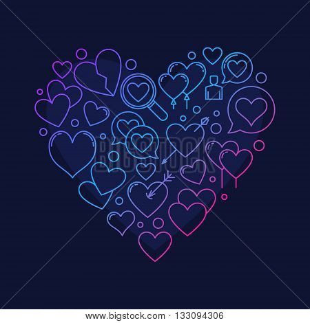Heart shape symbol - vector love illustration made with linear hearts sign on dark blue background