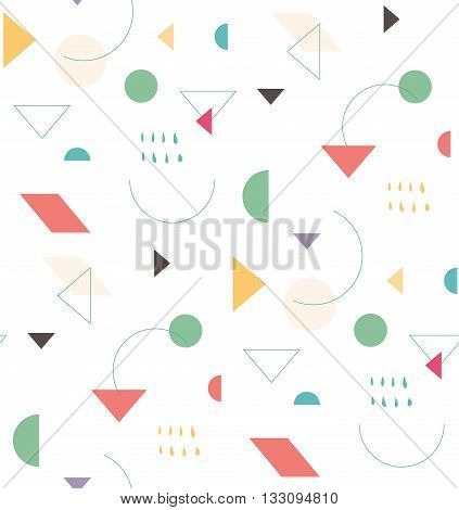 Bright geometric pattern in the style of the 80's 90's for the cover design background cover fabric fashion. Holiday repeating pattern