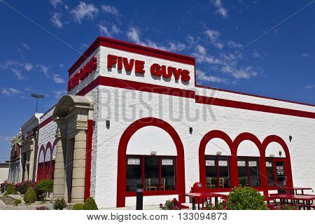 Indianapolis - Circa June 2016: Five Guys Restaurant. Five Guys is a Fast Casual Restaurant Chain in the US and Canada
