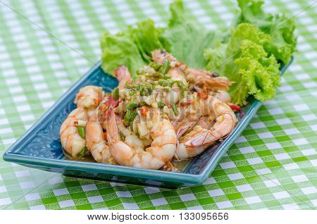 Fried Shrimp with chilli and garlic (Thai foods)